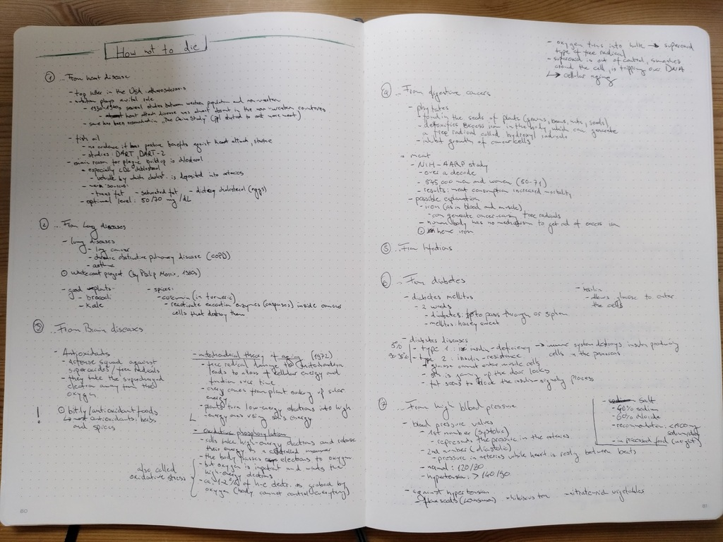Figure 3: Taking notes in a A4 notebook (notes for How not to die)