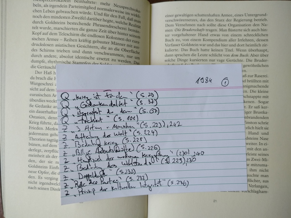 Figure 1: Taking notes on A5 paper (notes for the book 1984)