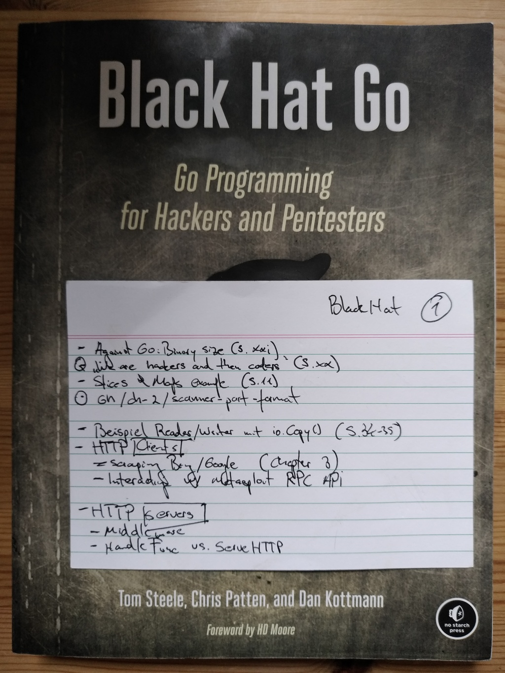 Figure 2: The same also for tech books (notes for the book Black Hat Go)